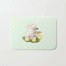 White Rabbit and Easter Friends Bath Mat