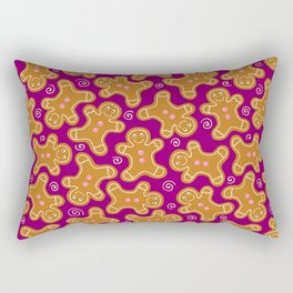 Gingerbread Men on Purple Rectangular Pillow