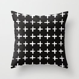 Plus sign black and white Throw Pillow
