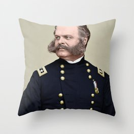 Sidebunrs, a colourisation  of Ambrose Burnside Throw Pillow