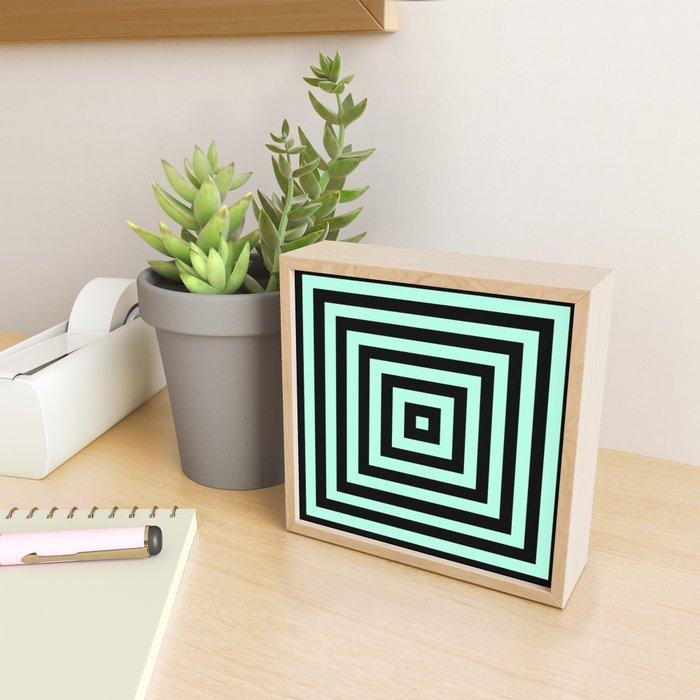 Graphic Geometric Pattern Minimal 2 Tone Infinity Square Shapes (Mint Minty Green & Black) Framed Mini Art Print