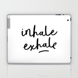 Inhale Exhale black and white contemporary minimalism typography print home wall decor bedroom Laptop & iPad Skin