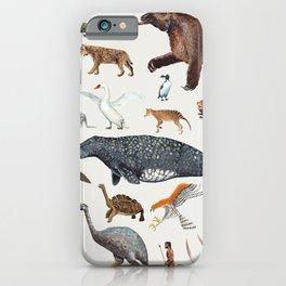 Animal chart of the Holocene extinction iPhone Case