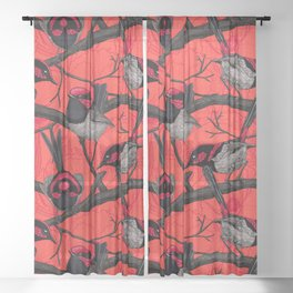 Fairy wrens on red Sheer Curtain