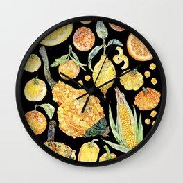 Harvest of Yellow - Black Wall Clock