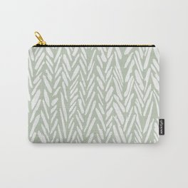 Light green herringbone pattern with cream stripes Carry-All Pouch