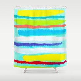 Ocean Blue Summer blue abstract painting stripes pattern beach tropical holiday california hawaii Shower Curtain