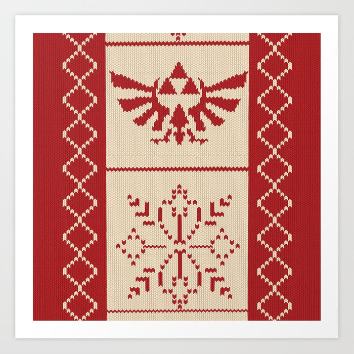 Nerdy Christmas Sweater.Nerdy Christmas Sweater Zelda Art Print By Minettewasserman