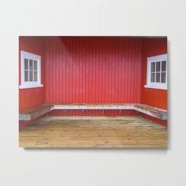 White Windows Red Wall Metal Print