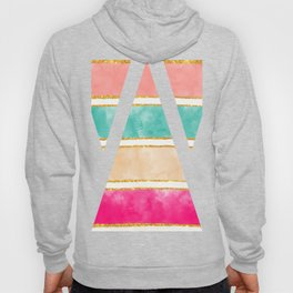 Modern Stripes Pink Red Watercolor Gold Glitter Hoody
