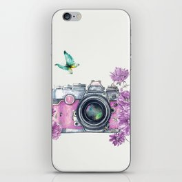 Camera with Summer Flowers 2 iPhone Skin