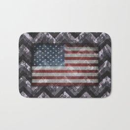 Periwinkle Purple Digital Camo Chevrons with American Flag Bath Mat