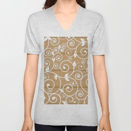White floral swirls on wood texture Unisex V-Neck