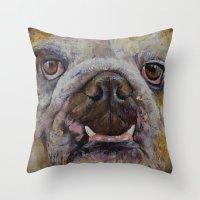 bulldog Throw Pillows featuring Bulldog by Michael Creese