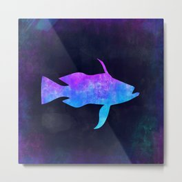 BASS FISH IN SPACE // Animal Graphic Art // Watercolor Canvas Painting // Modern Minimal Cute Metal Print