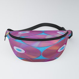 Laser Compact discs on a blue background with color reflection Fanny Pack