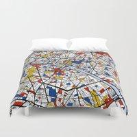 paris map Duvet Covers featuring Paris by Mondrian Maps