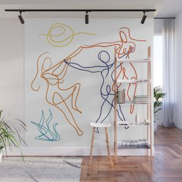 Summer dancers by the fire Wall Mural
