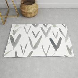 Watercolor V's - Grey Gray Rug