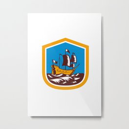 Sailing Ship Galleon Crest Retro Woodcut Metal Print