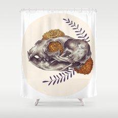 Inktober Cat Skull Shower Curtain