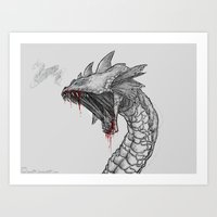 hydra Art Prints featuring Hydra by Sara Saeed