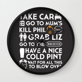 SHAUN OF THE DEAD THE PLAN WHITE Wall Clock