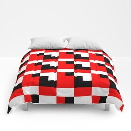 Red black step pattern Comforters