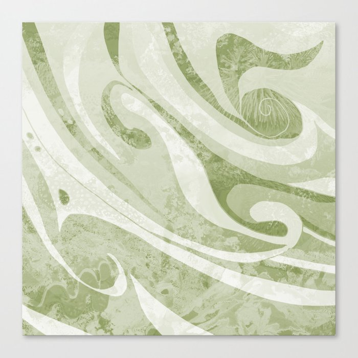Abstract Green Waves Design Canvas Print