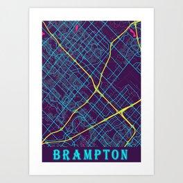 Brampton Neon City Map, Brampton Minimalist City Map Art Print