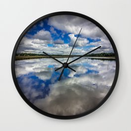 Clouds Reflected Wall Clock