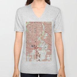 Fort Worth Texas Map (1995) Unisex V-Neck