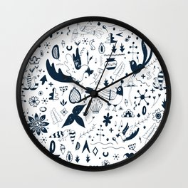 Slavic-inspired Ink Pattern Wall Clock