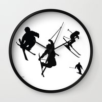 skiing Wall Clocks featuring Skiing silhouettes by By Myyna