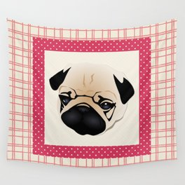 Pink Plaid Border Pug Wall Tapestry