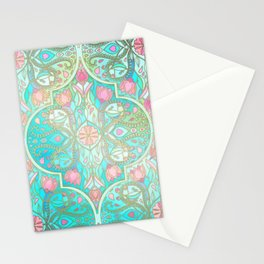 Floral Moroccan in Spring Pastels - Aqua, Pink, Mint & Peach Stationery Cards