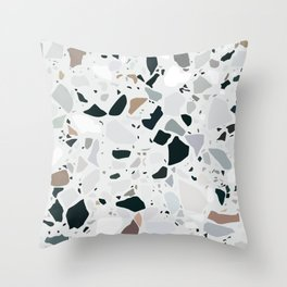 Gray Terrazzo Tile Pattern Throw Pillow