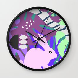 Rabbit and monstera leaves in purple Wall Clock