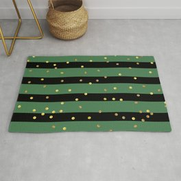 Christmas Golden confetti on Black and Green Stripes Rug