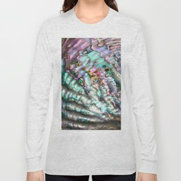 Glowing Cotton Candy Pink & Green Abalone Mother of Pearl Long Sleeve T-shirt