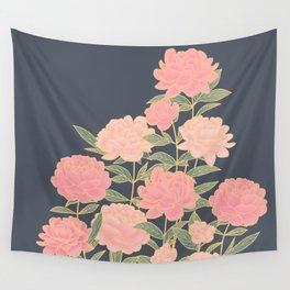 Pink peonies vintage pattern Wall Tapestry