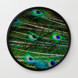 Peacock Feathered Wall Clock