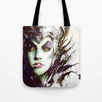maleficent Tote Bags featuring Maleficent by Vincent Vernacatola