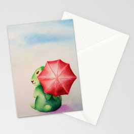 Rainy Day Bunny Rabbit, Paris when it rains Stationery Cards