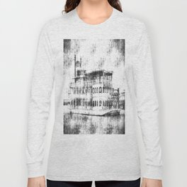 New Orleans Paddle Steamer Vintage Long Sleeve T-shirt