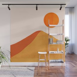 Abstraction_Mountains_SUN_Minimalism_01 Wall Mural