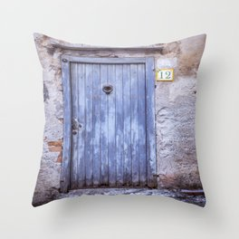 Old Blue Door Throw Pillow