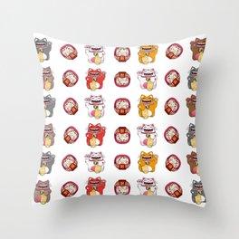 Colorful Maneki - neko pattern design Throw Pillow