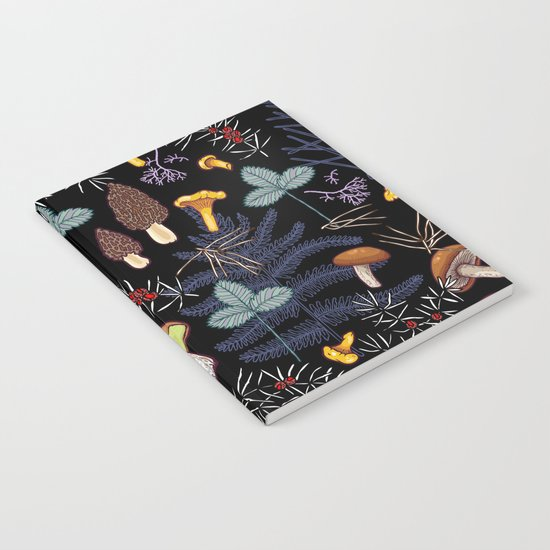 dark wild forest mushrooms Notebook