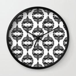 Moth linocut black and white minimal modern pattern moths nature Wall Clock